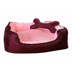 """Лежак """"Deni"""" пухлый с подушкой, для животных, мех/нейлон, бордово-розовый"""