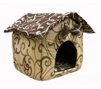 """Мягкий домик """"Будка"""" для животных, подушка, СЪЕМНАЯ КРЫША, бежево-коричневый, бязь"""