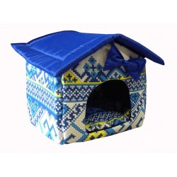 """Мягкий домик """"Будка"""" для животных, подушка, СЪЕМНАЯ КРЫША, голубой жаккард, бязь/оксфорд, 30*35*38 см"""