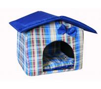 """Мягкий домик """"Будка"""" для животных, подушка, СЪЕМНАЯ КРЫША, голубой, бязь/оксфорд"""