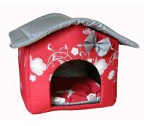 """Мягкий домик """"Будка"""" для животных, подушка, СЪЕМНАЯ КРЫША, бордово-серый, бязь/оксфорд"""