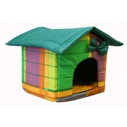 """Мягкий домик """"Будка"""" для животных, подушка, СЪЕМНАЯ КРЫША, желто-зеленый, бязь/оксфорд"""