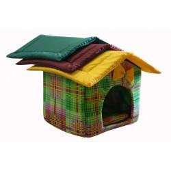 """Мягкий домик """"Будка"""" для животных, подушка, СЪЕМНАЯ КРЫША, цветная клетка, бязь/оксфорд"""