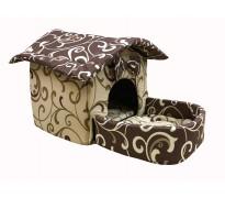 Домик с площадкой для животных, подушки, съемная крыша, бежево-коричневый, бязь