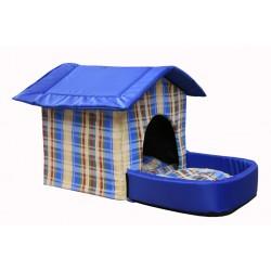 Домик с площадкой для животных, подушки, съемная крыша, синий, бязь/оксфорд