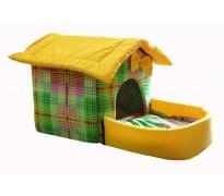 Домик с площадкой для животных, подушки, съемная крыша, цветная клетка, бязь/оксфорд