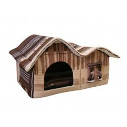 Домик с двойной крышей, для животных, подушка, бязь, коричнево-серый, 75*40*46 см