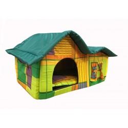Домик с двойной крышей, для животных, подушка, бязь/оксфорд, желто-зеленый, 75*40*46 см