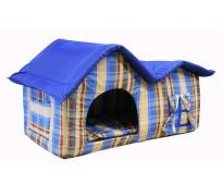 Домик с двойной крышей, для животных, подушка, бязь/оксфорд, сине-бежевый, 75*40*46 см
