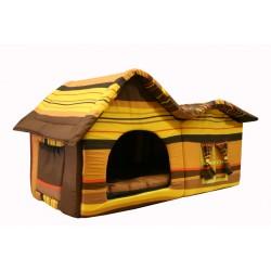 Домик с двойной крышей, для животных, подушка, поплин, шоколадный в полоску, 75*40*46 см