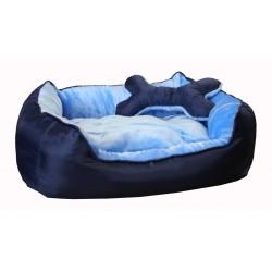 """Лежак """"Deni"""" пухлый с подушкой, для животных, мех/нейлон, сине-голубой"""