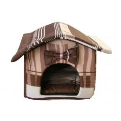 """Мягкий домик """"Будка"""" для животных, подушка, СЪЕМНАЯ КРЫША, коричнево-серый, бязь"""