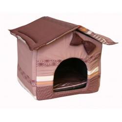 """Мягкий домик """"Будка"""" для животных, подушка, СЪЕМНАЯ КРЫША, коричневый, бязь, 30*35*38 см"""