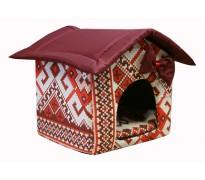 """Мягкий домик """"Будка"""" для животных, подушка, СЪЕМНАЯ КРЫША, бордовый, бязь/оксфорд"""