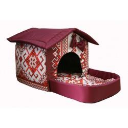 Домик с площадкой для животных, подушки, съемная крыша, бордовый, бязь/оксфорд