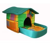 Домик с площадкой для животных, подушки, съемная крыша, желто-зеленый, бязь/оксфорд