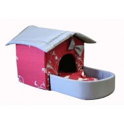 Домик с площадкой для животных, подушки, съемная крыша, бордово-серый, бязь/оксфорд