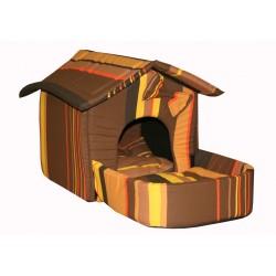 Домик с площадкой для животных, подушки, съемная крыша, шоколадный, поплин