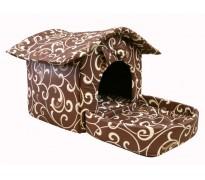 Домик с площадкой для животных, подушки, съемная крыша, коричневый с завитками, бязь