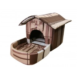 Домик с площадкой для животных, подушки, съемная крыша, коричнево-серый, бязь