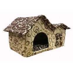 Домик с двойной крышей, для животных, подушка, бязь, бежево-коричневый, 75*40*46 см