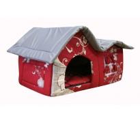 Домик с двойной крышей, для животных, подушка, бязь/оксфорд, бордово-серый, 75*40*46 см